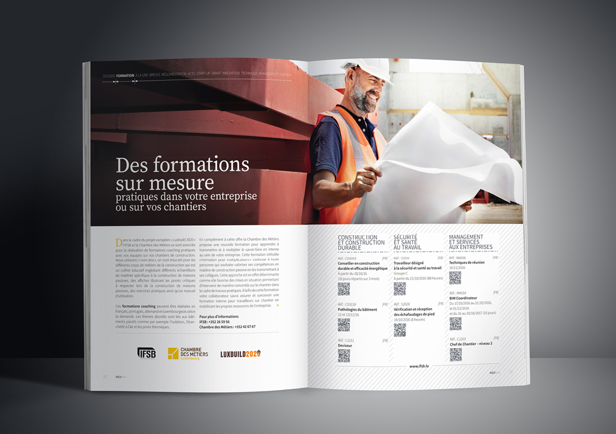 Pages formations du magazine luxembourgeois Neomag