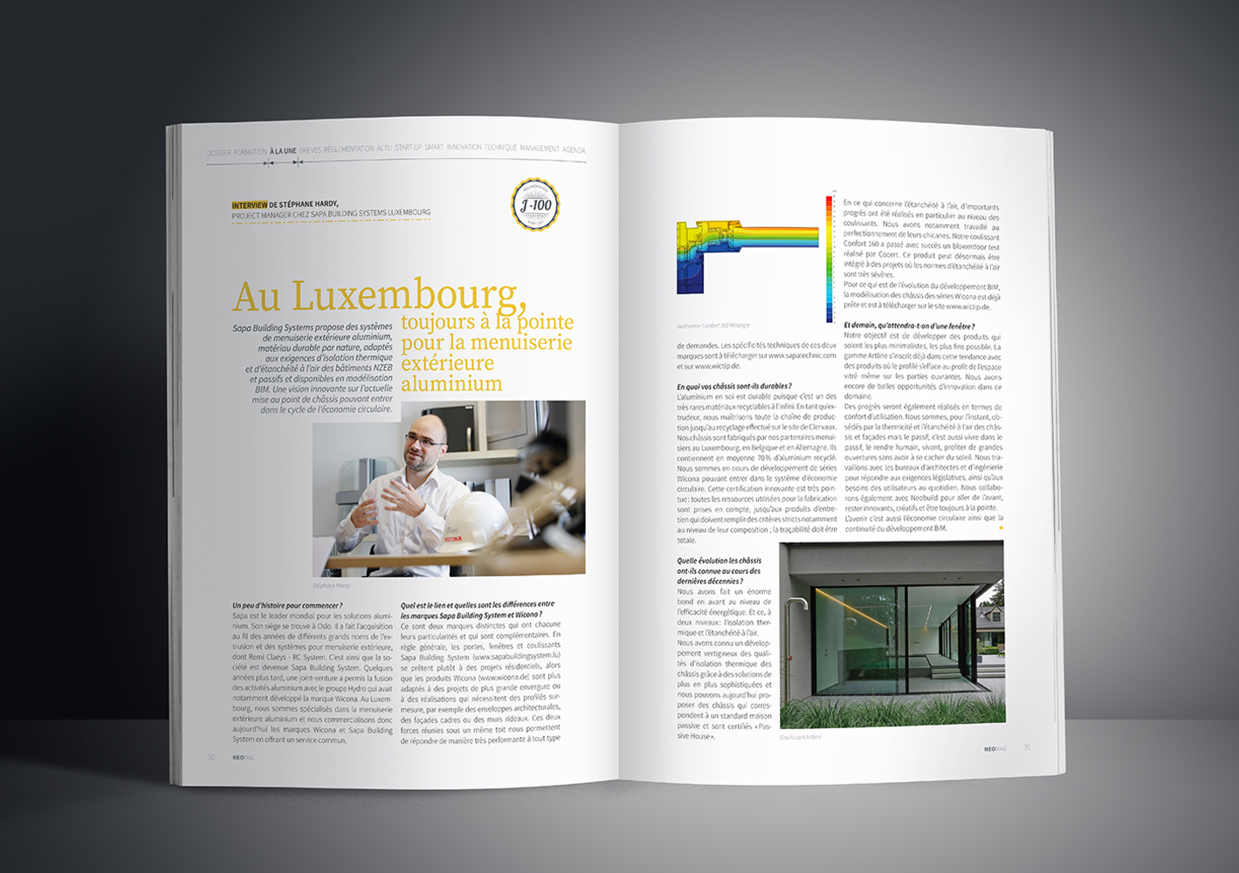 Pages éditoriales du magazine luxembourgeois Neomag